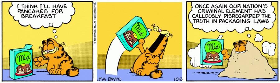 Оригинал комикса про Гарфилда от 08 октября 1983 года