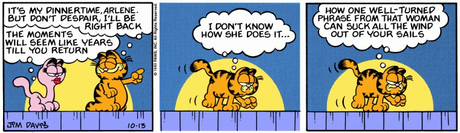 Оригинал комикса про Гарфилда от 13 октября 1983 года