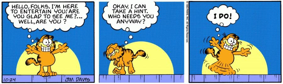 Оригинал комикса про Гарфилда от 24 октября 1983 года