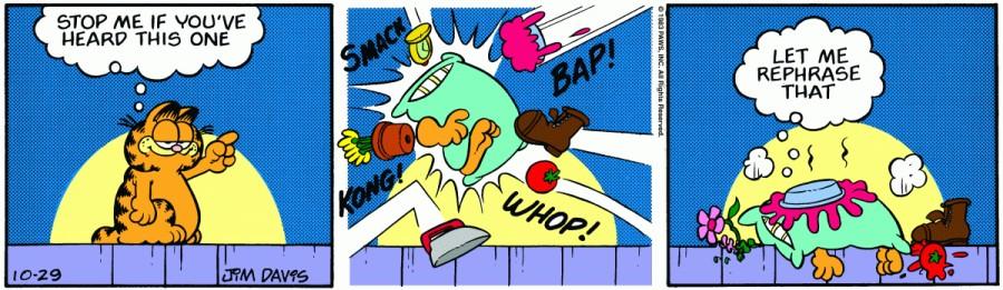 Оригинал комикса про Гарфилда от 29 октября 1983 года