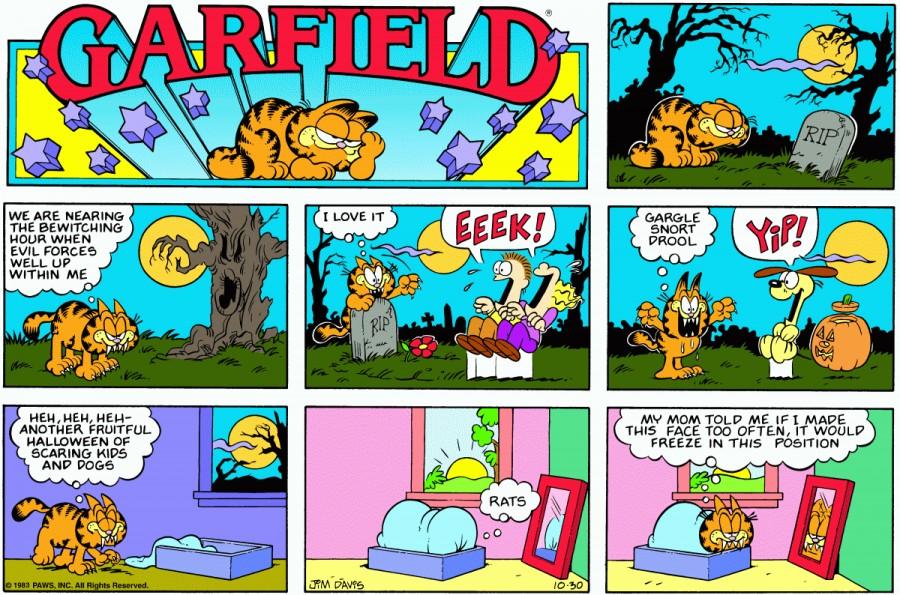 Оригинал комикса про Гарфилда от 30 октября 1983 года