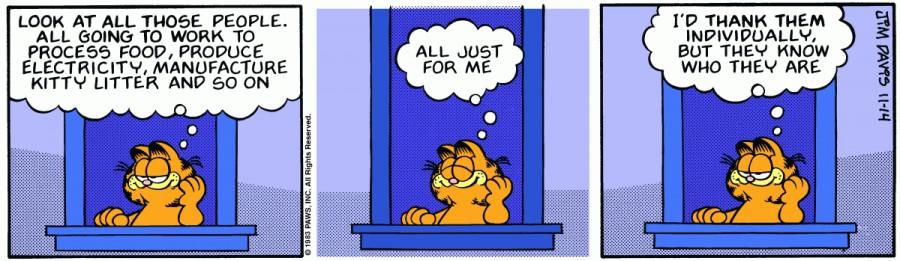 Оригинал комикса про Гарфилда от 14 ноября 1983 года