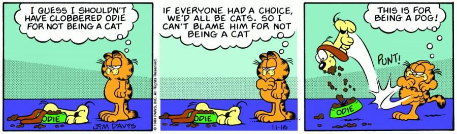 Оригинал комикса про Гарфилда от 16 ноября 1983 года
