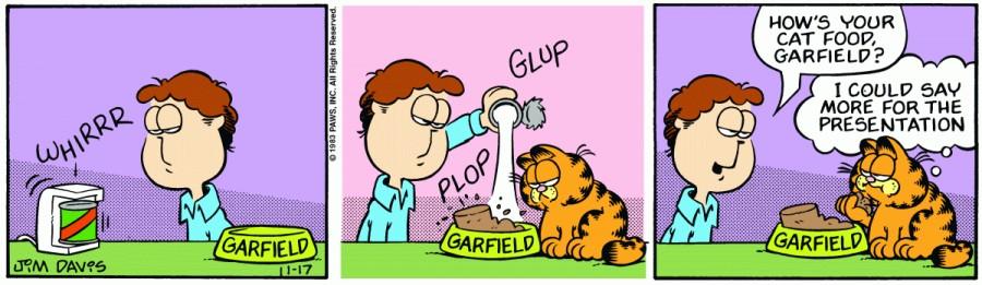Оригинал комикса про Гарфилда от 17 ноября 1983 года
