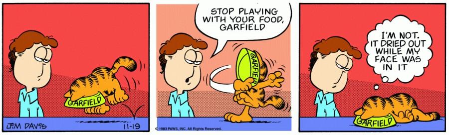 Оригинал комикса про Гарфилда от 19 ноября 1983 года