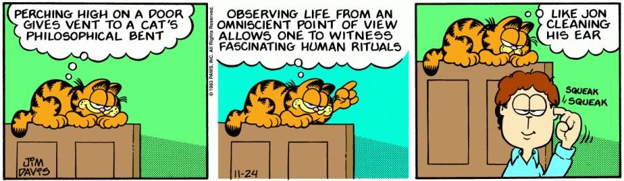 Оригинал комикса про Гарфилда от 24 ноября 1983 года