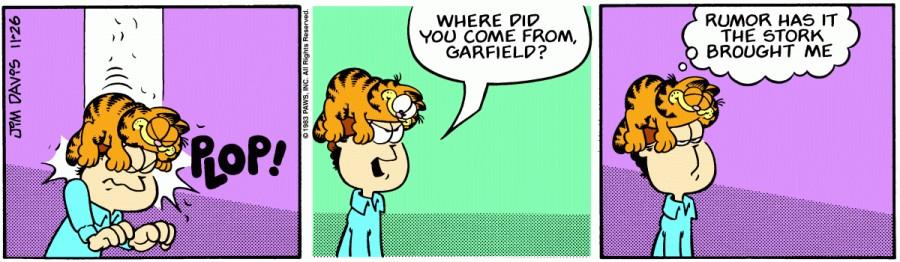 Оригинал комикса про Гарфилда от 26 ноября 1983 года