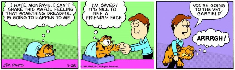 Оригинал комикса про Гарфилда от 28 ноября 1983 года