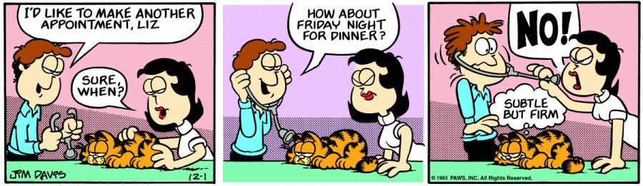 Оригинал комикса про Гарфилда от 01 декабря 1983 года