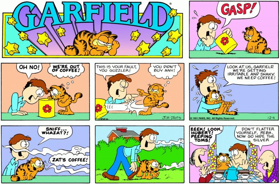 Оригинал комикса про Гарфилда от 04 декабря 1983 года