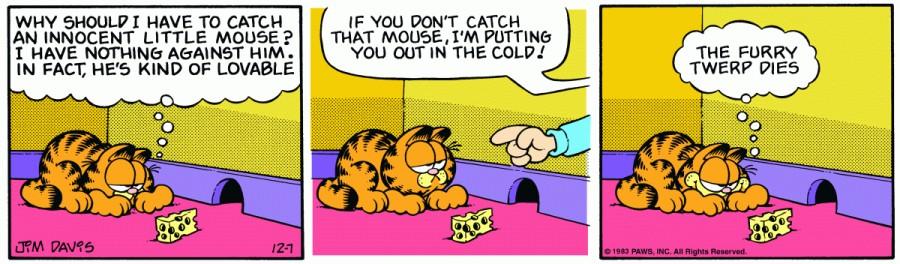 Оригинал комикса про Гарфилда от 07 декабря 1983 года