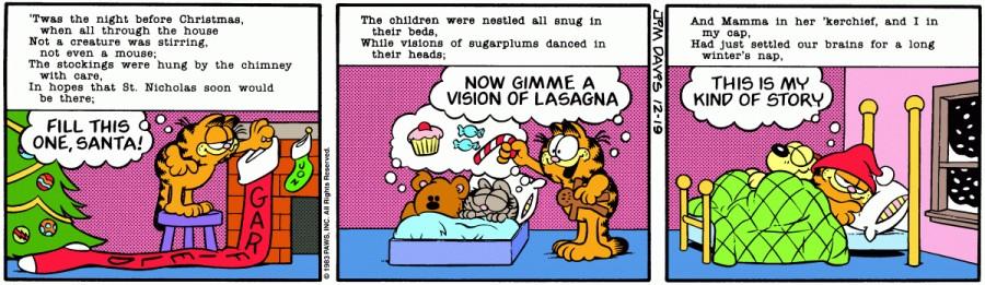 Оригинал комикса про Гарфилда от 19 декабря 1983 года
