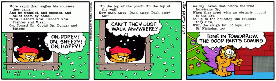Оригинал комикса про Гарфилда от 21 декабря 1983 года