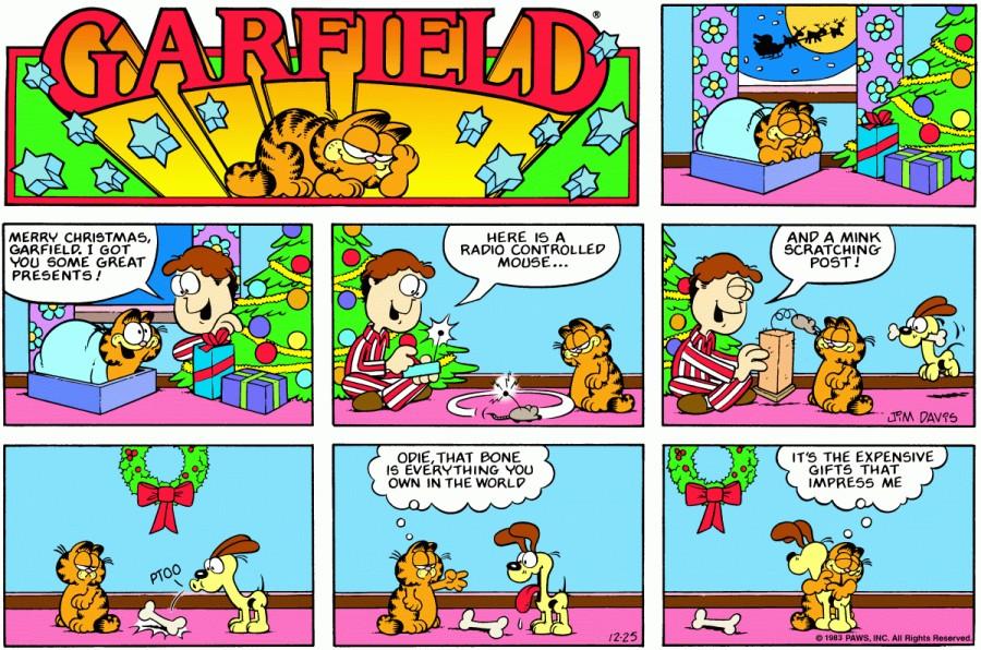 Оригинал комикса про Гарфилда от 25 декабря 1983 года