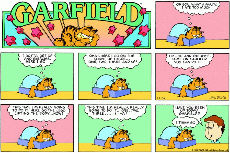 Оригинал комикса про Гарфилда от 01 января 1984 года