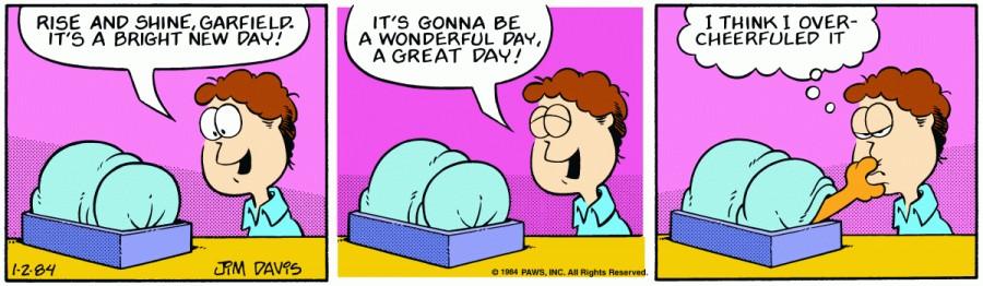 Оригинал комикса про Гарфилда от 02 января 1984 года