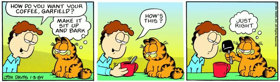 Оригинал комикса про Гарфилда от 03 января 1984 года