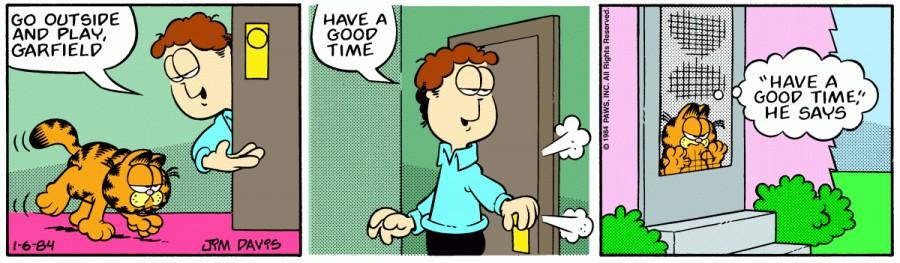 Оригинал комикса про Гарфилда от 06 января 1984 года