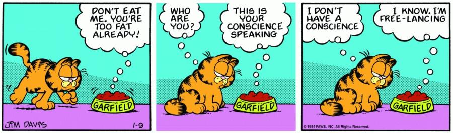 Оригинал комикса про Гарфилда от 09 января 1984 года