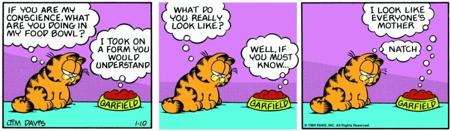 Оригинал комикса про Гарфилда от 10 января 1984 года