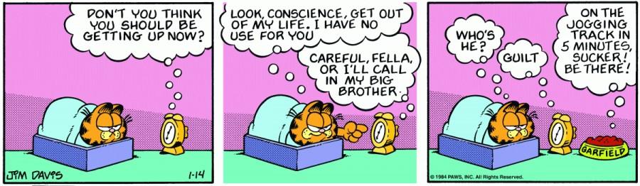 Оригинал комикса про Гарфилда от 14 января 1984 года
