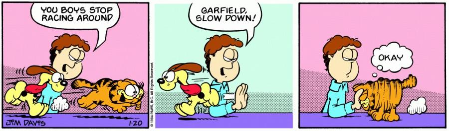 Оригинал комикса про Гарфилда от 20 января 1984 года