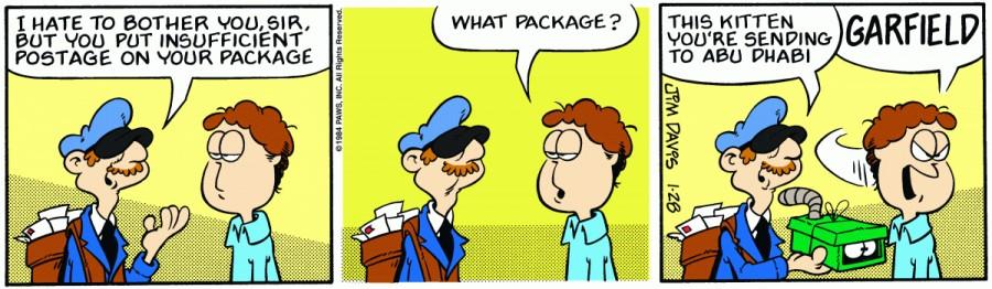 Оригинал комикса про Гарфилда от 28 января 1984 года