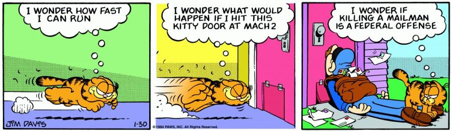 Оригинал комикса про Гарфилда от 30 января 1984 года