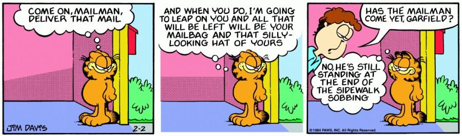 Оригинал комикса про Гарфилда от 02 февраля 1984 года