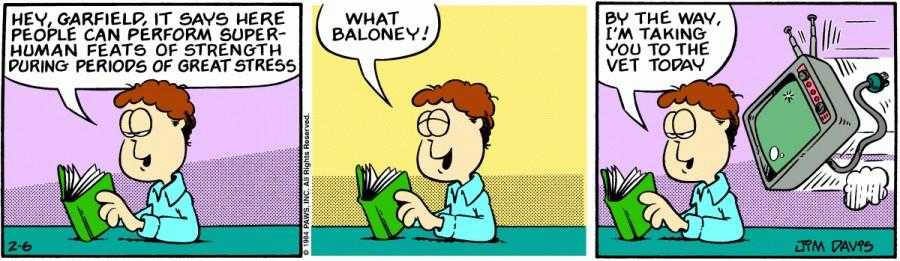 Оригинал комикса про Гарфилда от 06 февраля 1984 года