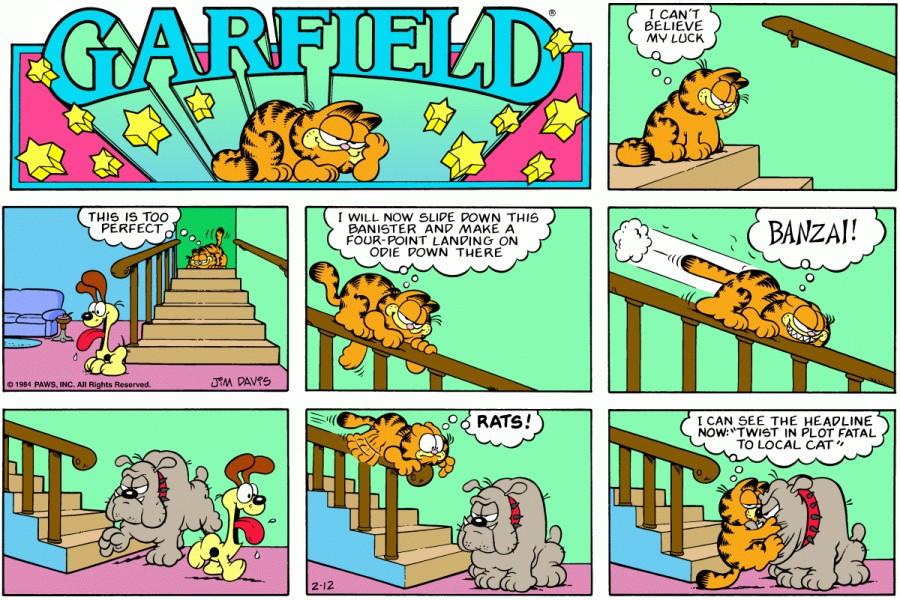 Оригинал комикса про Гарфилда от 12 февраля 1984 года