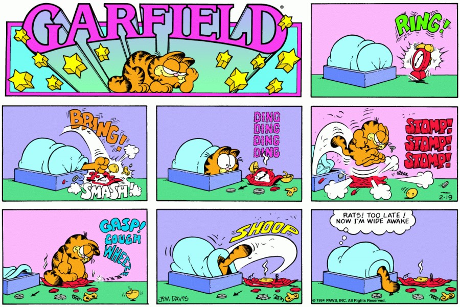 Оригинал комикса про Гарфилда от 19 февраля 1984 года