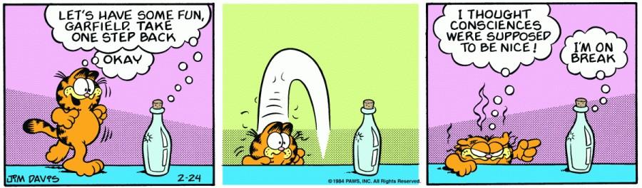 Оригинал комикса про Гарфилда от 24 февраля 1984 года
