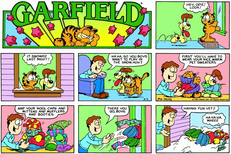 Оригинал комикса про Гарфилда от 04 марта 1984 года