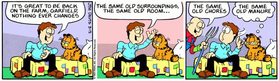 Оригинал комикса про Гарфилда от 13 марта 1984 года