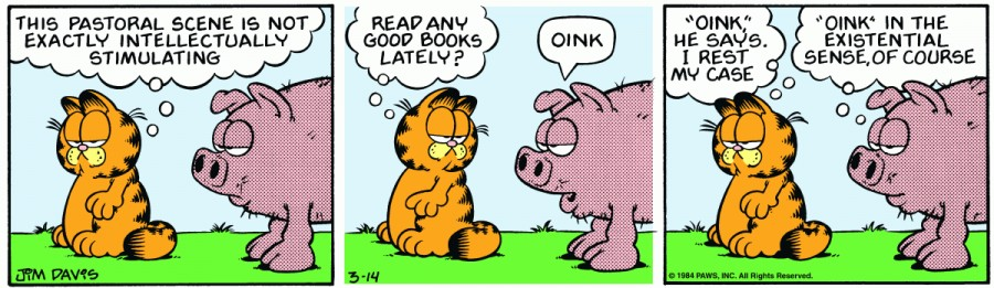 Оригинал комикса про Гарфилда от 14 марта 1984 года