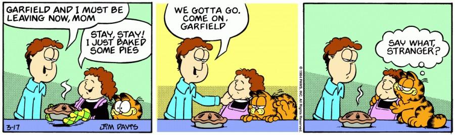 Оригинал комикса про Гарфилда от 17 марта 1984 года