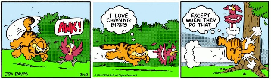 Оригинал комикса про Гарфилда от 19 марта 1984 года
