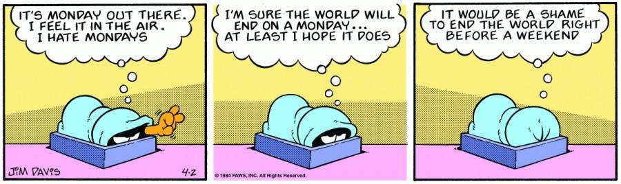 Оригинал комикса про Гарфилда от 02 апреля 1984 года