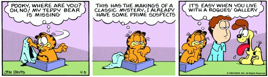 Оригинал комикса про Гарфилда от 03 апреля 1984 года