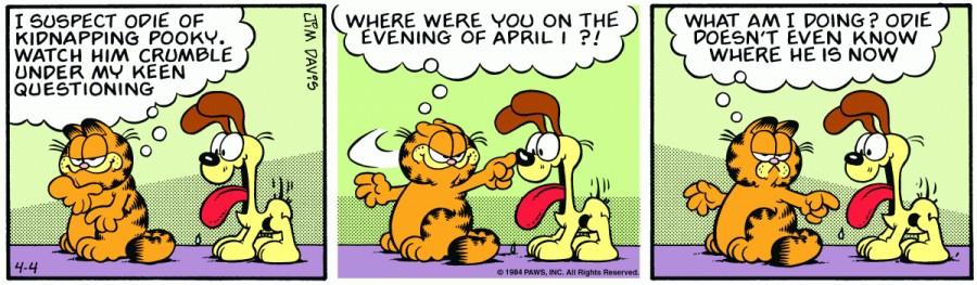 Оригинал комикса про Гарфилда от 04 апреля 1984 года