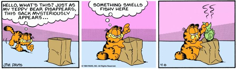 Оригинал комикса про Гарфилда от 06 апреля 1984 года
