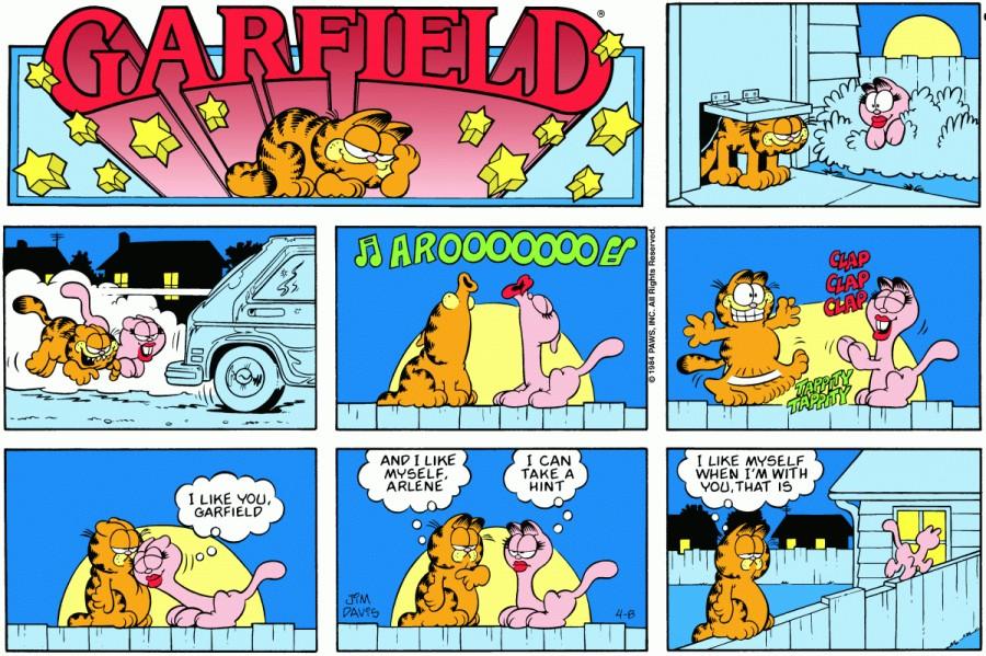 Оригинал комикса про Гарфилда от 08 апреля 1984 года