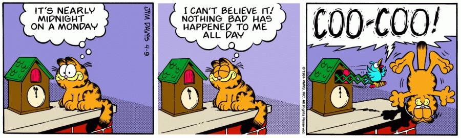 Оригинал комикса про Гарфилда от 09 апреля 1984 года