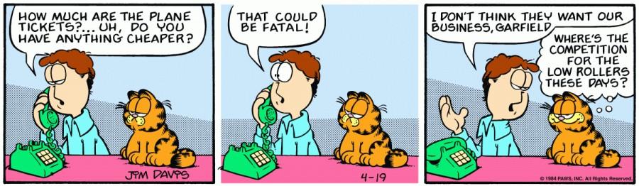 Оригинал комикса про Гарфилда от 19 апреля 1984 года