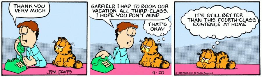 Оригинал комикса про Гарфилда от 20 апреля 1984 года