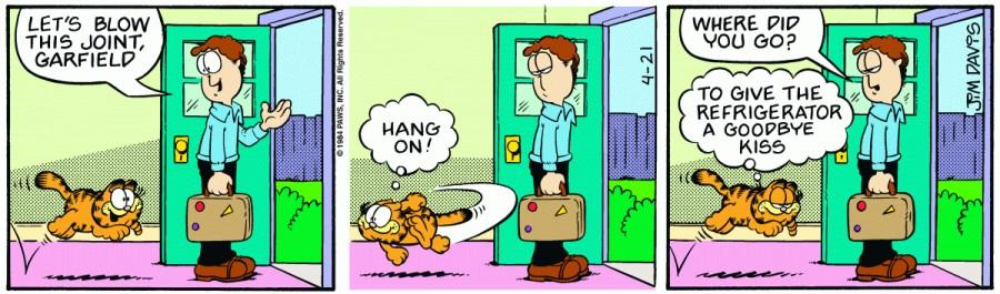 Оригинал комикса про Гарфилда от 21 апреля 1984 года