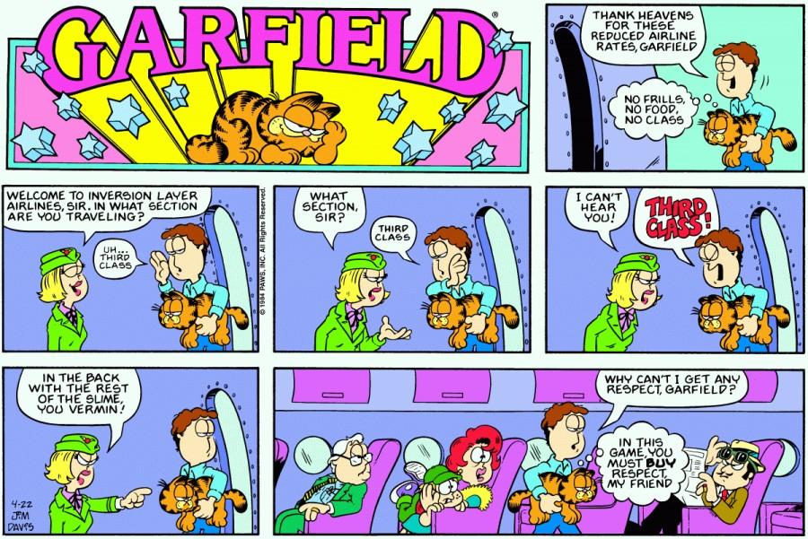 Оригинал комикса про Гарфилда от 22 апреля 1984 года