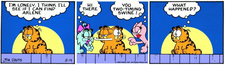 Оригинал комикса про Гарфилда от 14 мая 1984 года