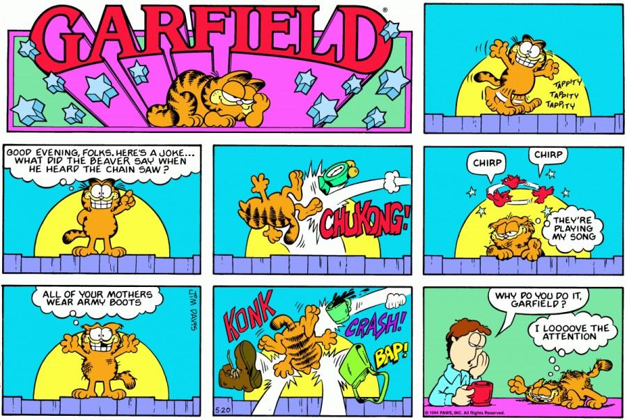 Оригинал комикса про Гарфилда от 20 мая 1984 года
